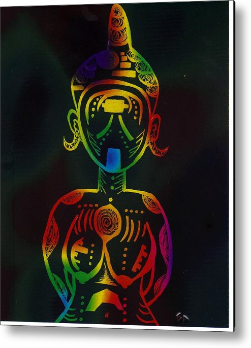 Woman Metal Print featuring the drawing Chaka by Edwin Antoinette