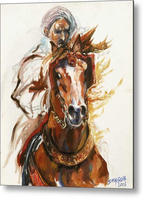 Horse Metal Print featuring the painting Cheval Arabe Monte En Action by Josette SPIAGGIA