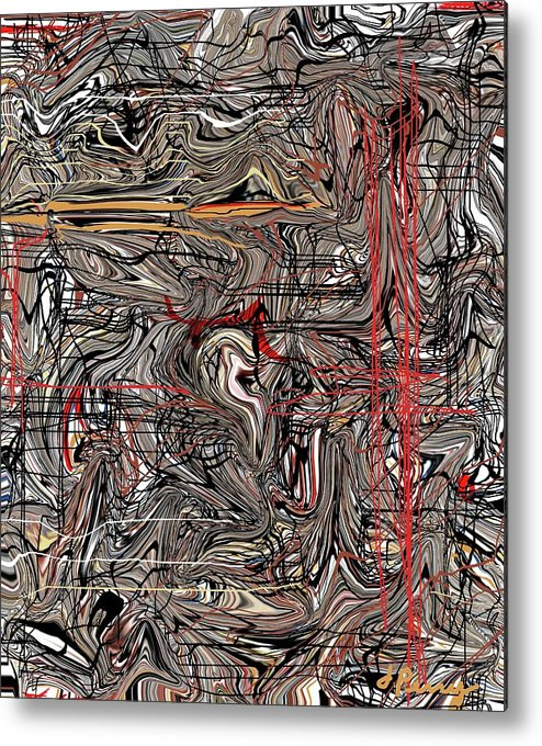 Abstract Drawing Metal Print featuring the digital art Crosswired by D Perry