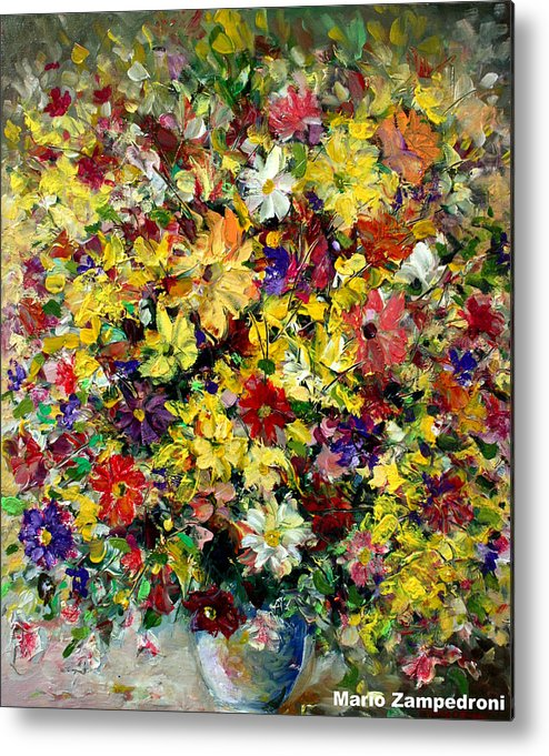 Flowers Metal Print featuring the painting Flowers by Mario Zampedroni