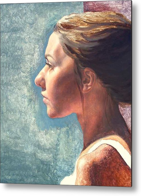 Portrait Metal Print featuring the painting Fresh Pose by Deborah Allison