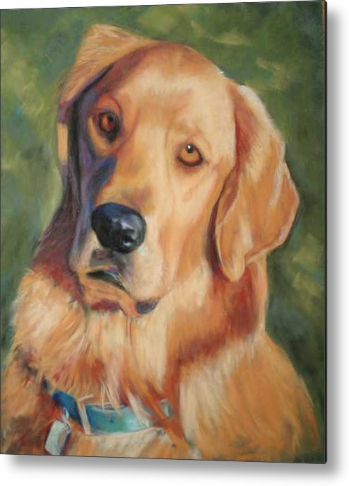 Golden Retriever Metal Print featuring the painting Golden Boy by Billie Colson