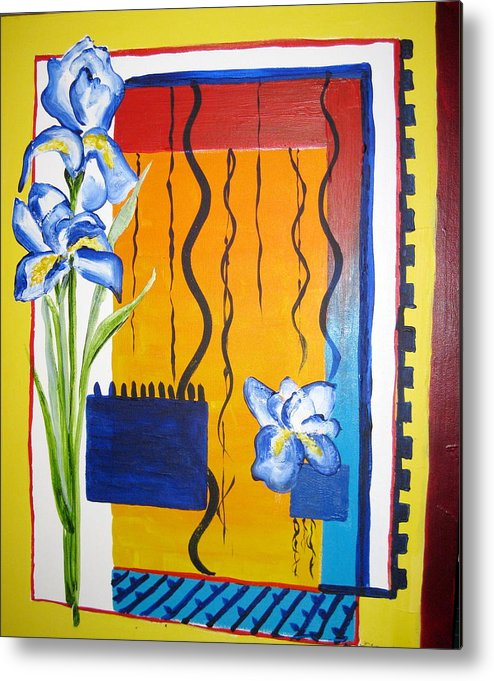 Flowers Metal Print featuring the painting Irises by Carole Johnson