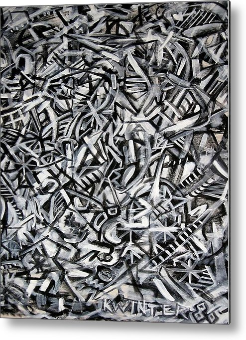 Abstract Black White Metal Print featuring the painting Jack's by Dave Kwinter