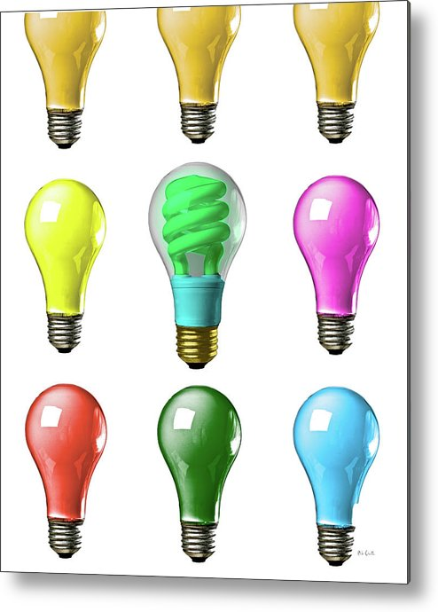 Business Metal Print featuring the photograph Light Bulbs Of A Different Color by Bob Orsillo