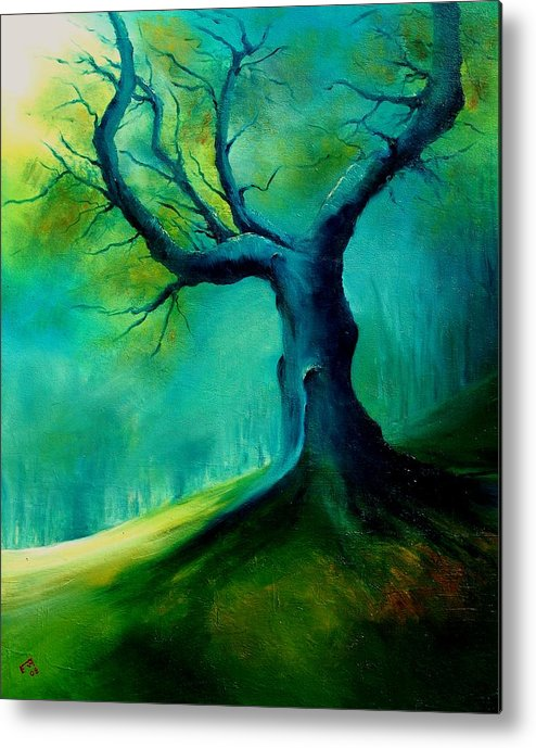 Landscape Metal Print featuring the painting Light On A Dead Tree by Veronique Radelet