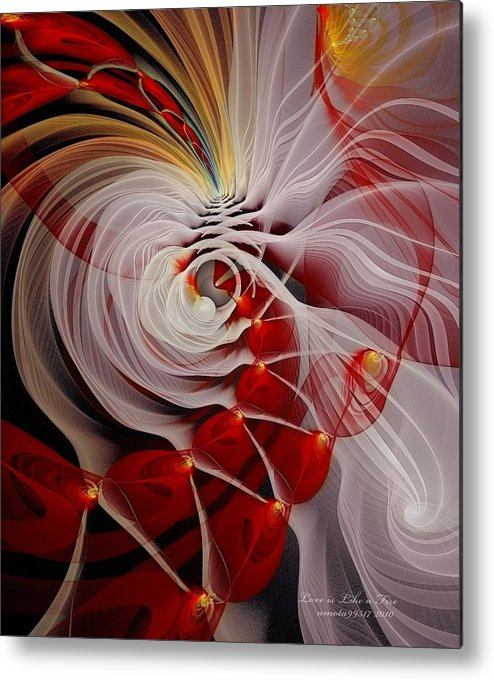 Fractal Metal Print featuring the digital art Love Is Like A Fire by Gayle Odsather