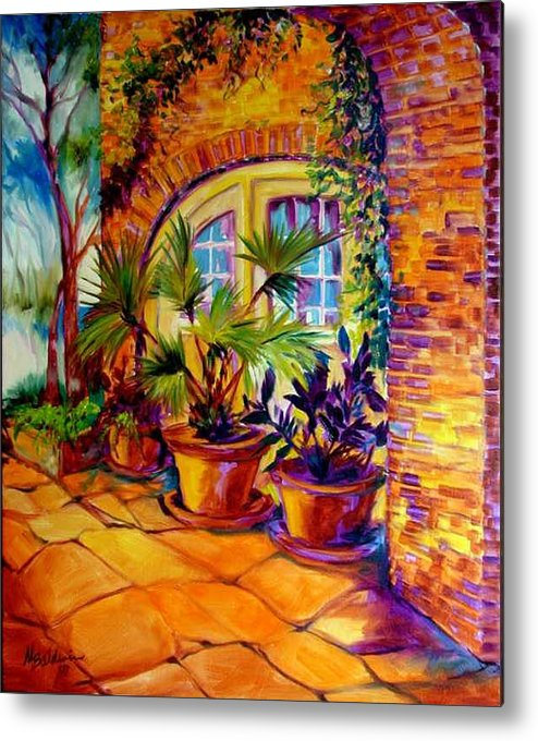 New Orleans Metal Print featuring the painting New Orleans Courtyard By M Baldwin by Marcia Baldwin