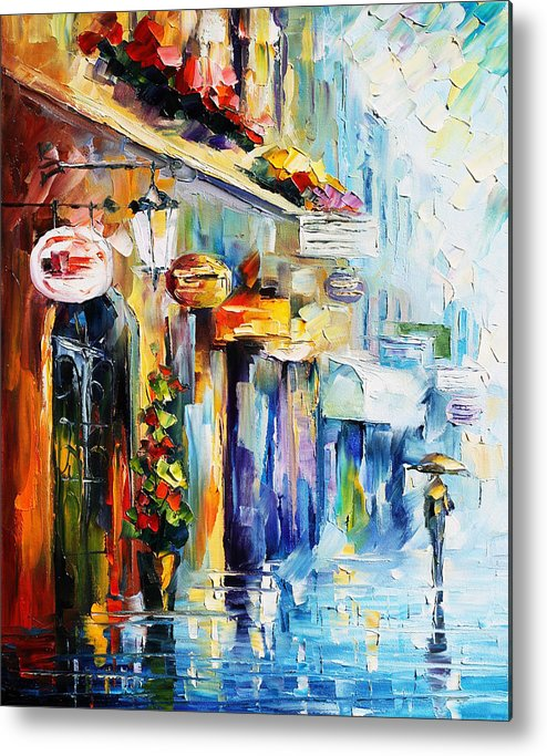 Afremov Metal Print featuring the painting Rainy Stroll by Leonid Afremov