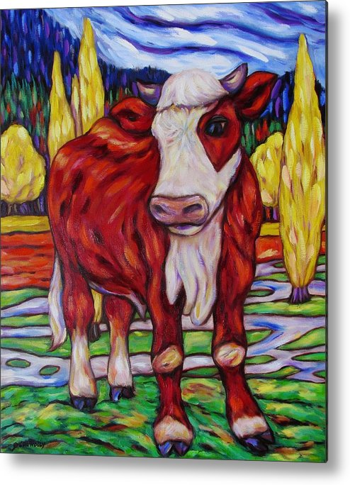 Diconnollyart Metal Print featuring the painting Red And White Bull Calf by Dianne Connolly