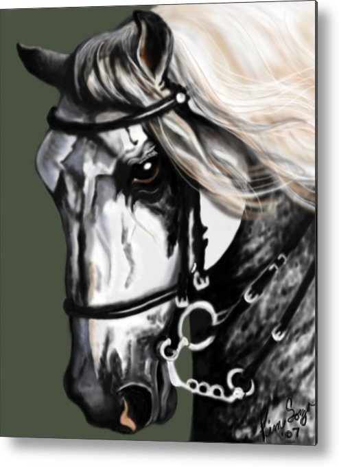Horses Metal Print featuring the painting Relampago Lx by Kim Souza