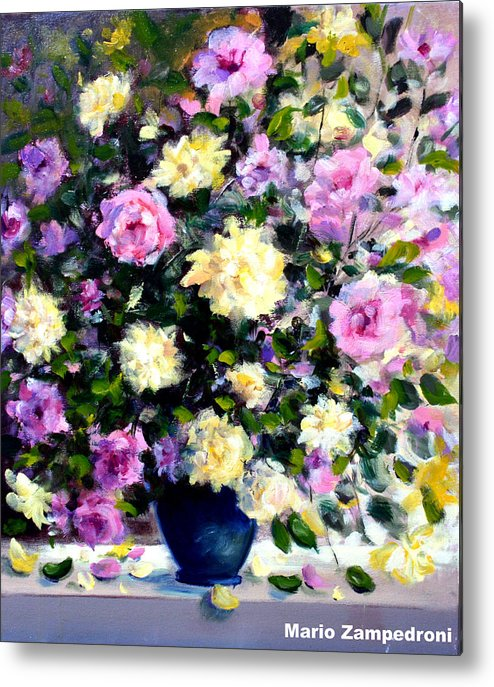Roses Metal Print featuring the painting Roses by Mario Zampedroni