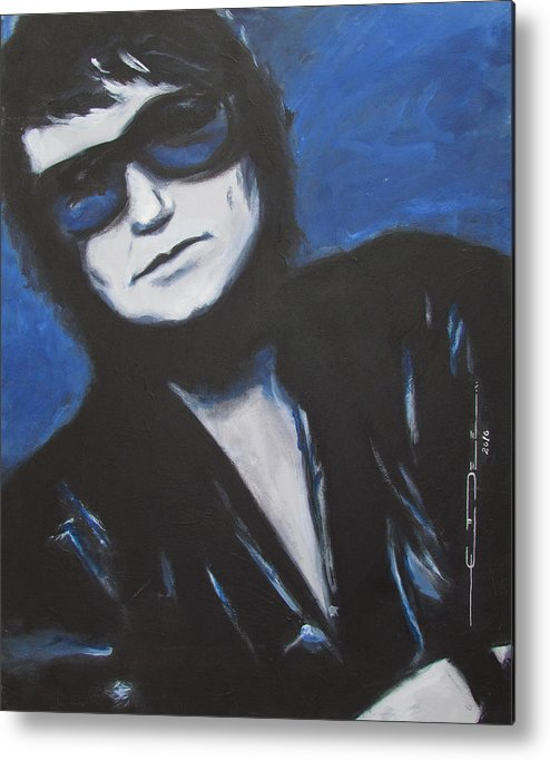 Celebrity Portrait Metal Print featuring the painting Roy Orbison In Beautiful Dreams - Forever by Eric Dee
