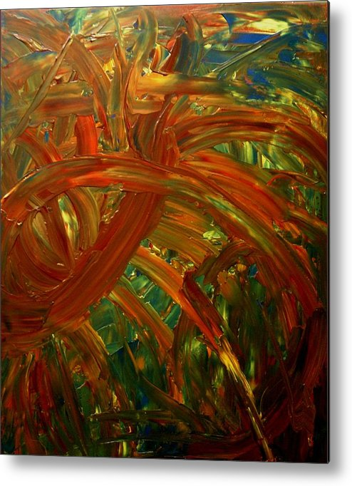 Abstract Metal Print featuring the painting Speyedr In The Grass by Karen L Christophersen