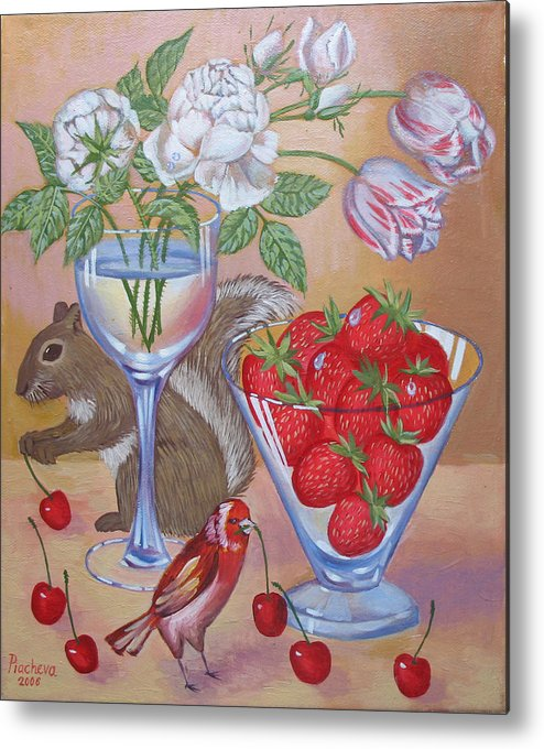 Food Metal Print featuring the painting Squirrel Cherry .2006 by Natalia Piacheva
