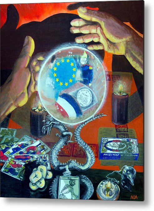 Scene Of Life Metal Print featuring the painting The Death Of The Franc by Aymeric NOA