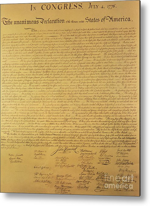 Declaration Of Independence Of The 13 United States Of America Of 1776 Metal Print featuring the painting The Declaration Of Independence by Founding Fathers