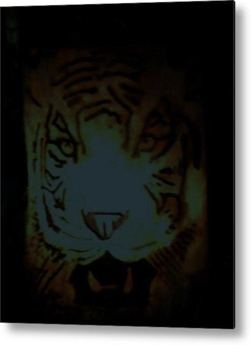 Tiger Metal Print featuring the relief Tramp by Calixto Gonzalez