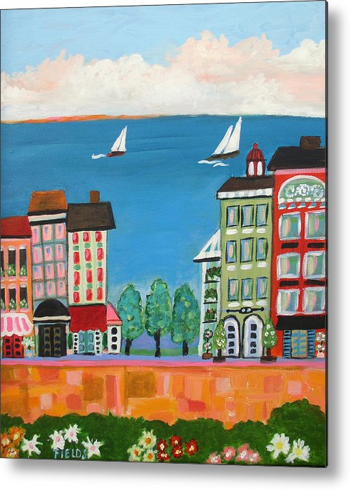 Cityscape Metal Print featuring the painting Waterfront by Karen Fields