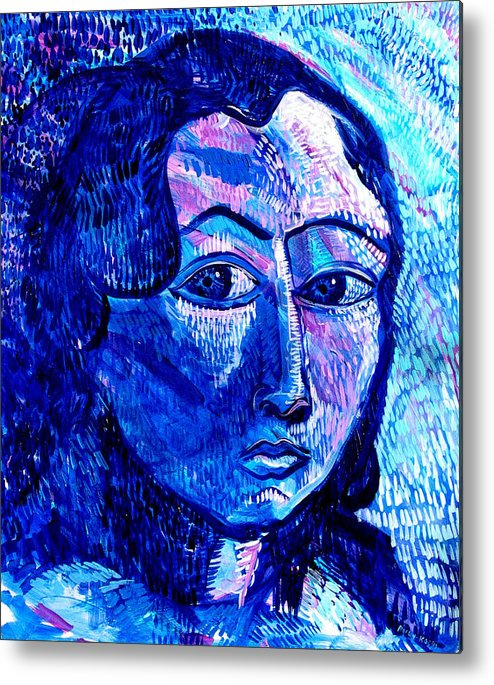Blue Metal Print featuring the painting What Happens To Me Is What I Do by Rollin Kocsis