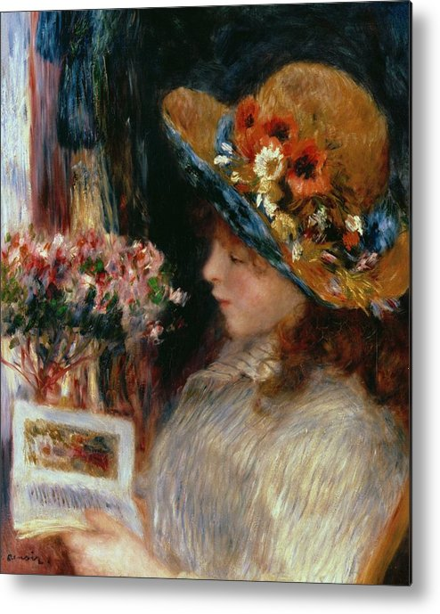 Young Girl Reading Metal Print featuring the painting Young Girl Reading by Pierre Auguste Renoir