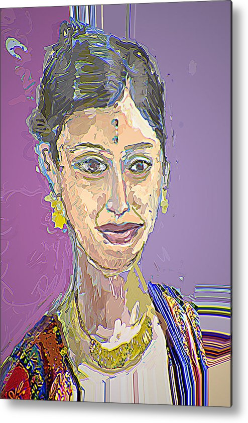 Portrait Metal Print featuring the mixed media Gopika II by Noredin Morgan