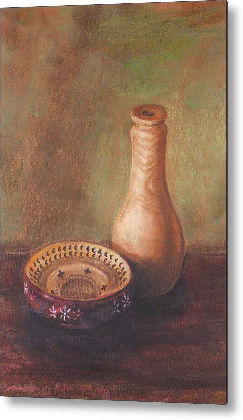 Still Life Metal Print featuring the painting Wooden Vase by Srilata Ranganathan