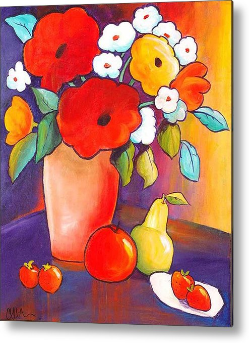 Painting Metal Print featuring the painting Breakfast In Tahiti by Carrie Allbritton
