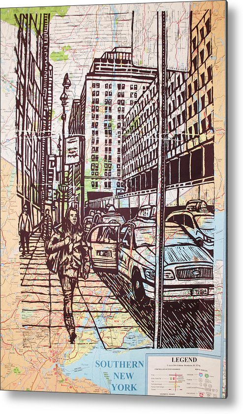 Nyc Metal Print featuring the drawing Manhattan On Map by William Cauthern