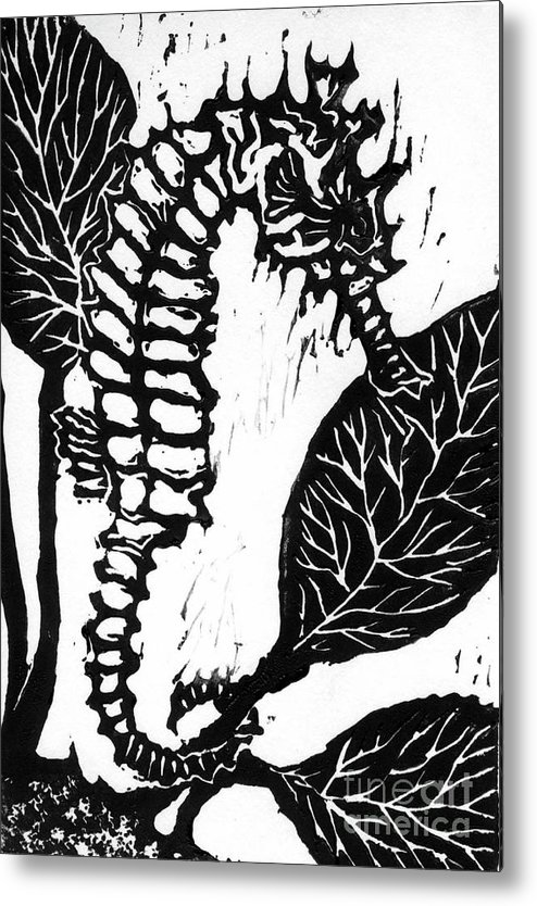 Lino Metal Print featuring the mixed media Seahorse Block Print by Ellen Miffitt