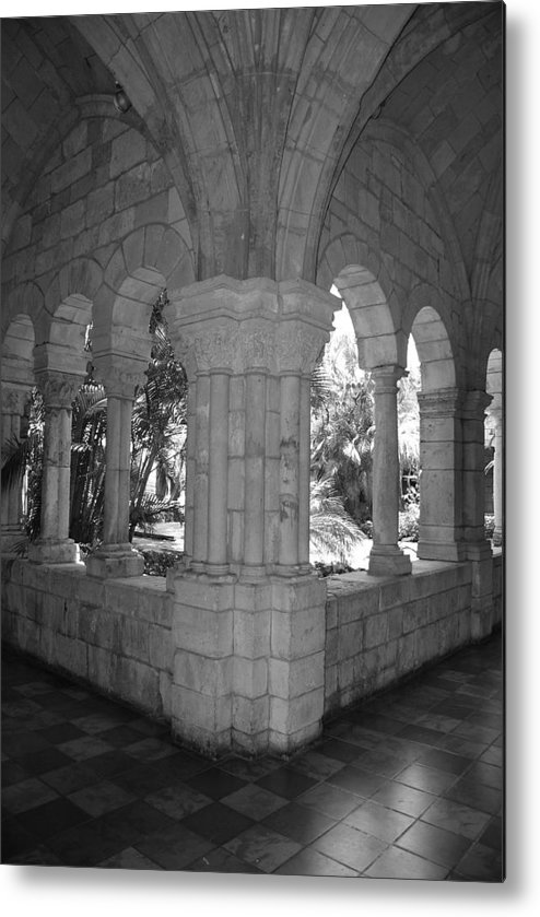 Black And White Metal Print featuring the photograph Miami Monastery In Black And White by Rob Hans