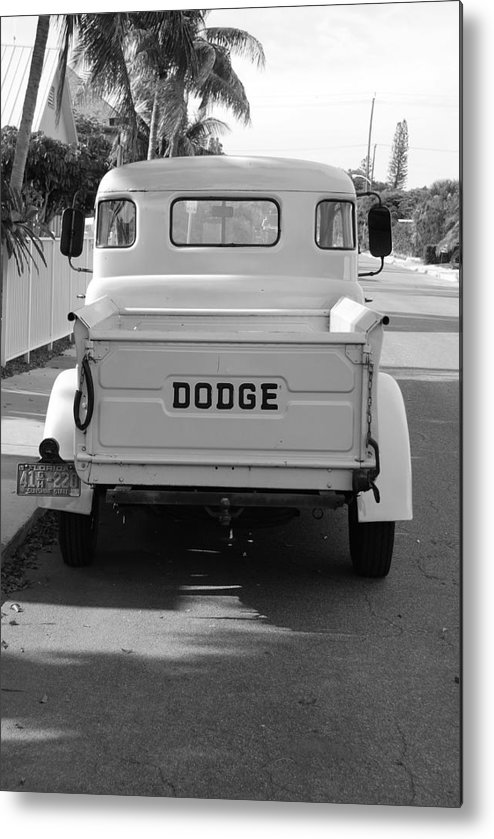 Black And White Metal Print featuring the photograph The Old Dodge by Rob Hans