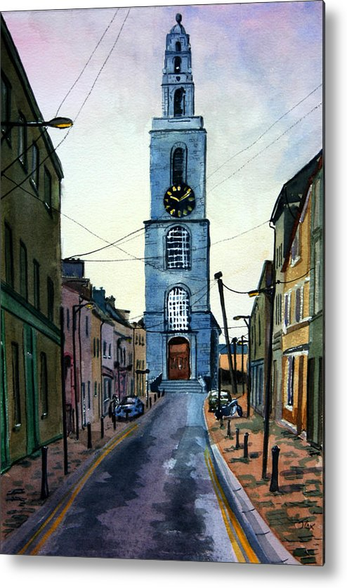 Town. City. Street. Ireland. Metal Print featuring the painting A Street In Cork. by John Cox