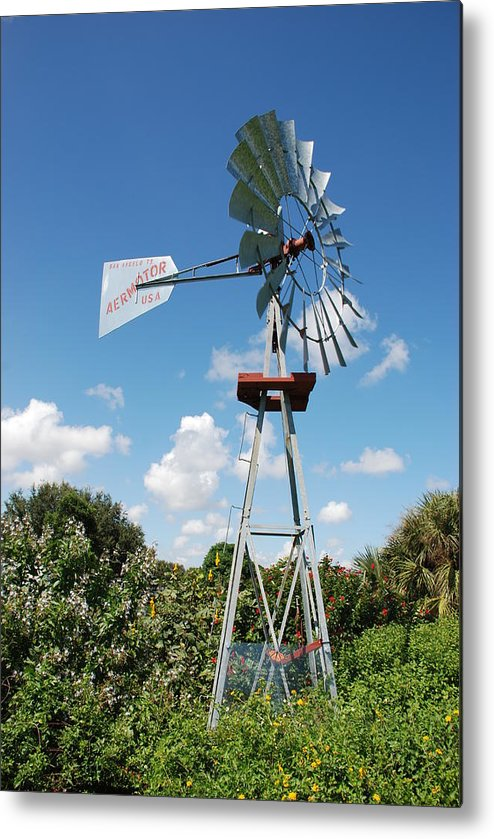 Blue Metal Print featuring the photograph Aeromotor Windmill by Rob Hans