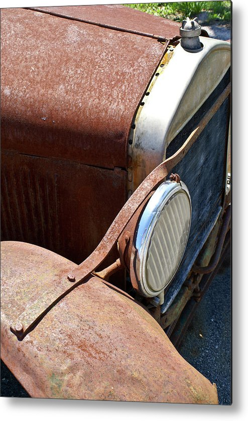 Anatique Metal Print featuring the photograph Antique Car Headlamp 2 by Douglas Barnett