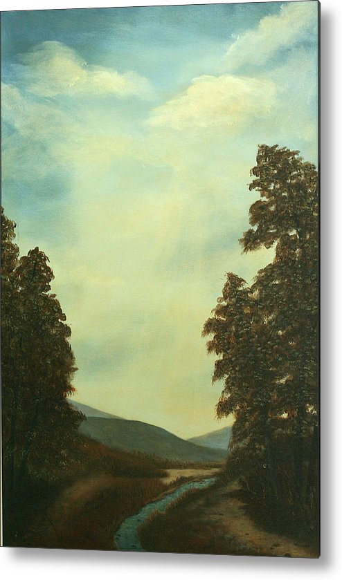 Original Pastoral Landscape Acrylic Large Constable Like Metal Print featuring the painting Back In Time by Sharon Steinhaus