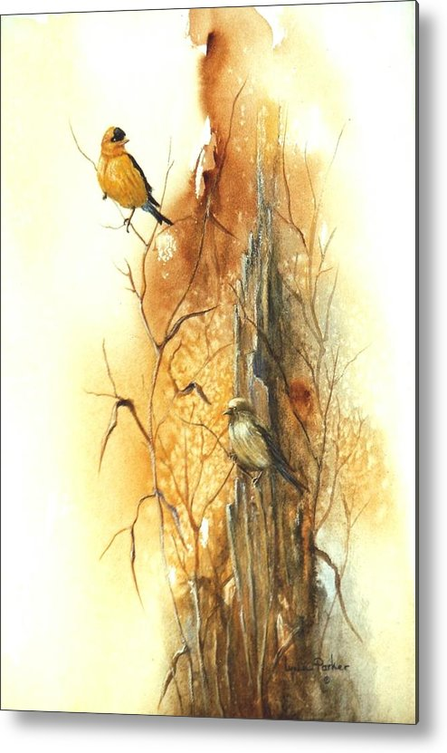American Goldfinch Metal Print featuring the painting Backyard American Goldfinch by Lynne Parker