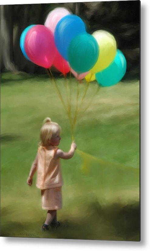 Birthday Metal Print featuring the digital art Birthday Balloons by Lisa Westrope