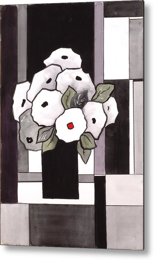 Painting Metal Print featuring the painting Black And White Funny Flowers by Carrie Allbritton