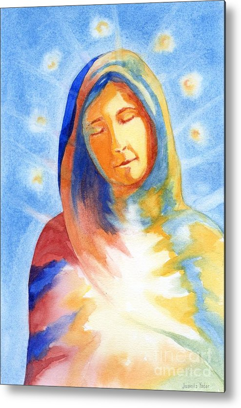 Divine Metal Print featuring the mixed media Blessed Mother by Juanita Yoder