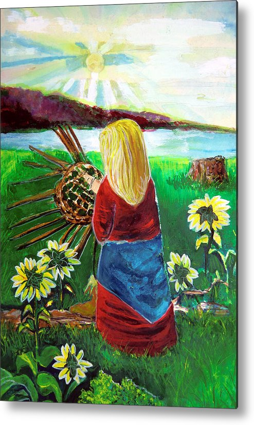 Woman Metal Print featuring the painting Blonde Indian Weaves Her Basket By A Lake by Mindy Newman