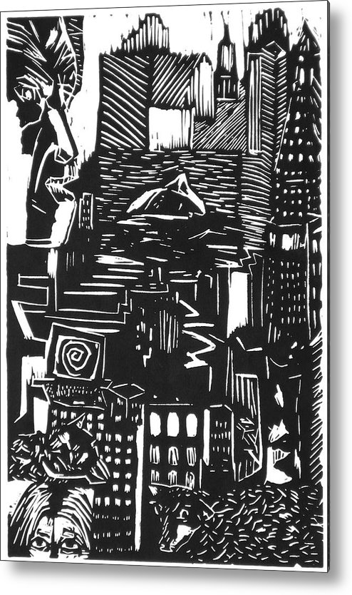 Apocalypse Buildings City Drown Lino Metropolis People Print Sheep Darkestartist Darkest Artist Black Metal Print featuring the mixed media Drowning In Metropolis by Darkest Artist