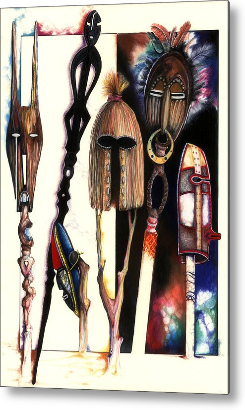Mask Metal Print featuring the drawing Dust To Dawn by Anthony Burks Sr