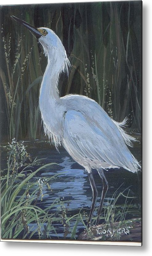 Egret Metal Print featuring the painting Egret by Peggy Conyers