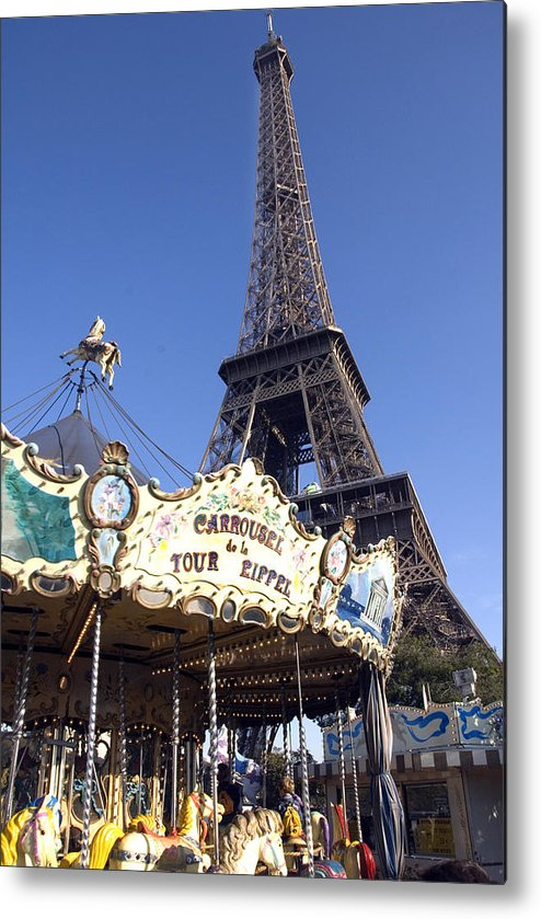 Eiffel Tower Metal Print featuring the photograph Eiffel Tower And Ancient Carousel by Charles Ridgway