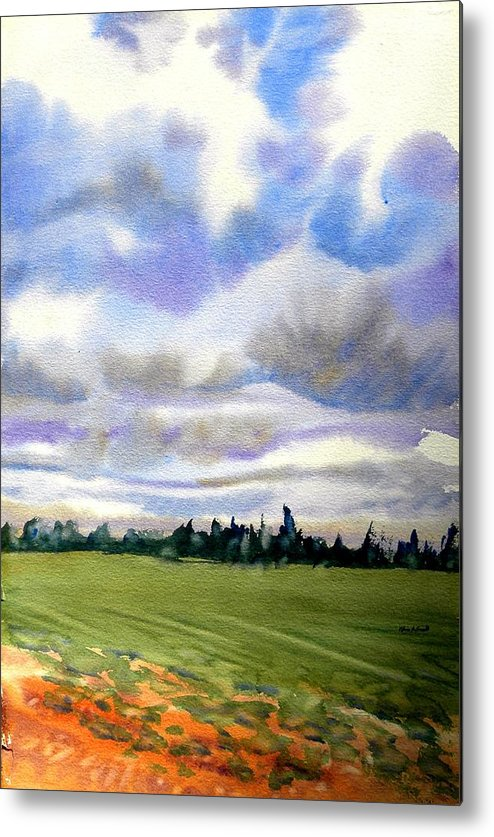 Watercolor On Paper Metal Print featuring the painting Farm Field P.e.i. by Patricia Bigelow