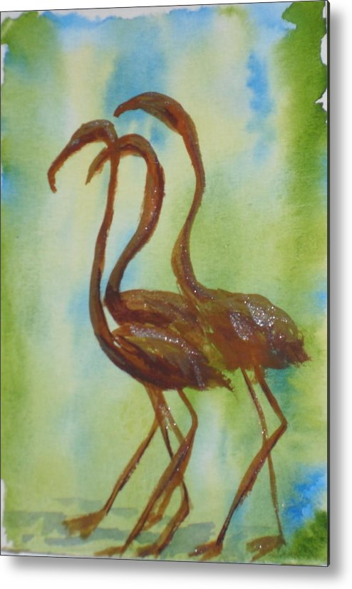Flamingos Metal Print featuring the painting Flamingos In Vail by Vicki Housel