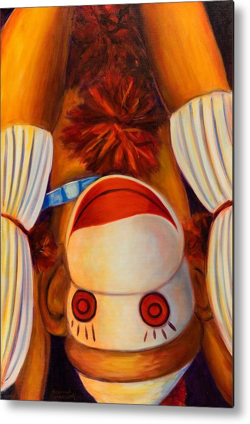 Children Metal Print featuring the painting Head-over-heels by Shannon Grissom