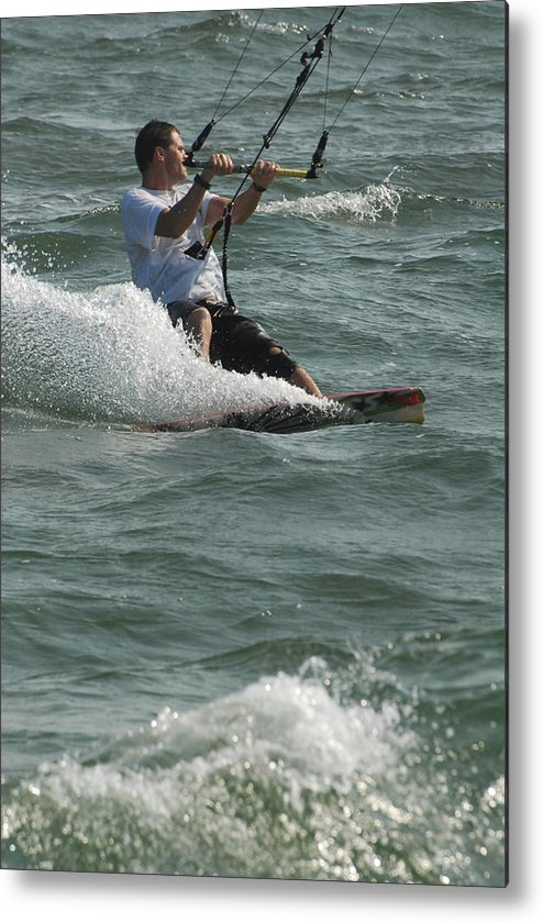 Kite Surfing Metal Print featuring the photograph Kite Surfing 3 by Joyce StJames