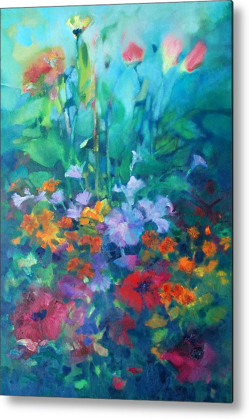 Flowers Abstract Abstraction Realism Impressionist Colors Metal Print featuring the painting Market Pack by Linda Puiatti